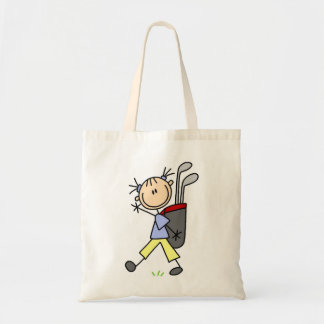 Girl Golfer With Bag and Clubs