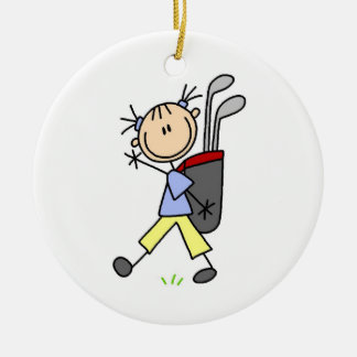 Girl Golfer With Bag and Clubs Ceramic Ornament