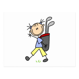 Girl Golfer With Bag and Clubs Post Cards