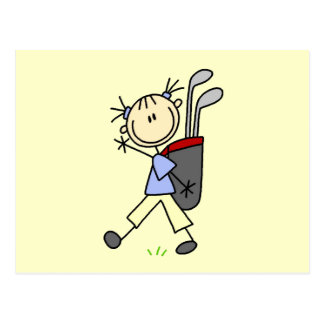 Girl Golfer With Bag and Clubs Postcard