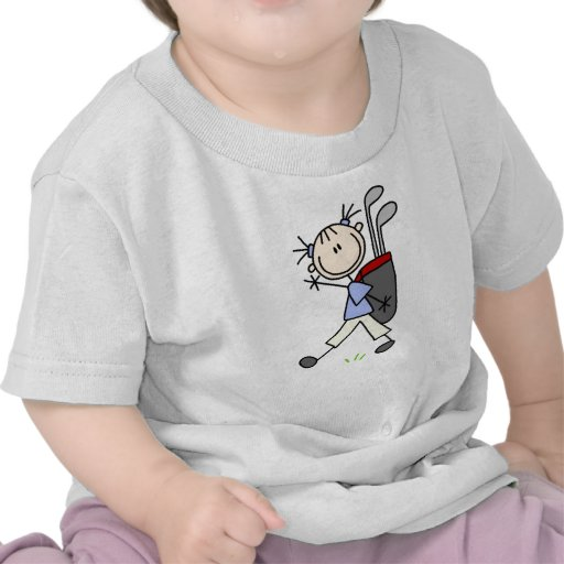 Girl Golfer With Bag and Clubs Tee Shirts