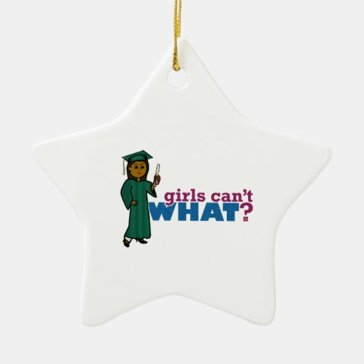 Girl Graduation in Green Christmas Ornament