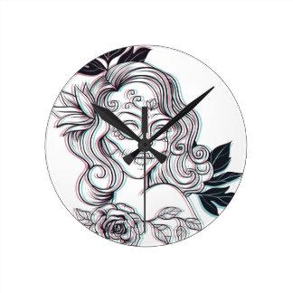 girl graphic illustration round clock