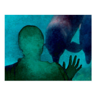 Girl hand up dolphins back grunged postcard