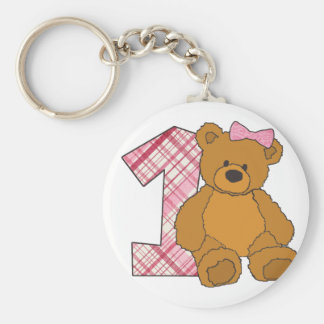 Girl Happy 1st Birthday Bear with 1 and Pink Bow Basic Round Button Key Ring