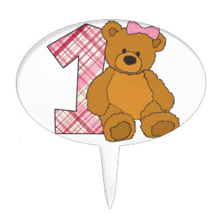 Girl Happy 1st Birthday Bear with 1 and Pink Bow Cake Pick