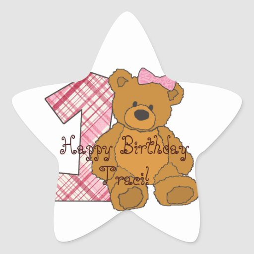 Girl Happy 1st Birthday Bear with 1 and Pink Bow Star Stickers