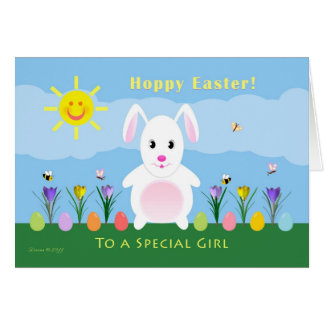 Girl Happy Easter - Easter Bunny Greeting Card
