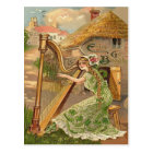 Girl Harp Rose Shamrock Erin Go Braugh Postcard