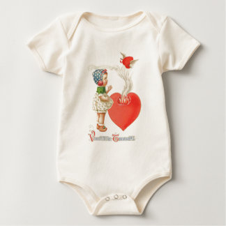 Girl Heart Wings Arrow Fire Baby Bodysuit