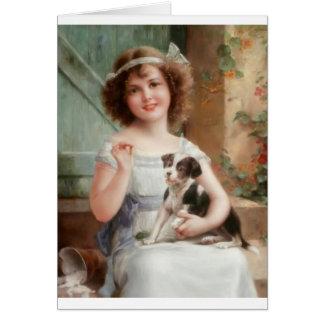 Girl & Her Mischievous Puppy, Card