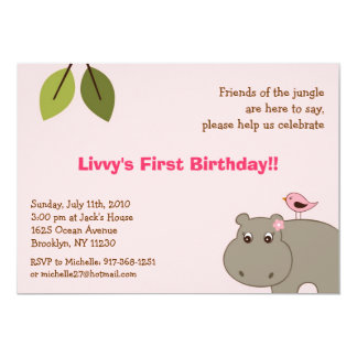Girl Hippo Jungle Custom Birthday Invitations