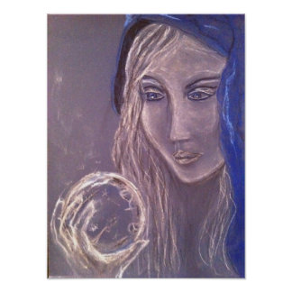 Girl holding a crystal ball poster