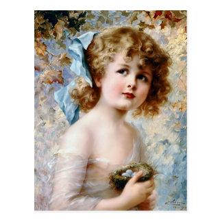 Girl holding a nest postcard