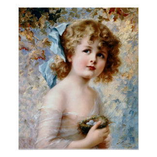 Girl holding a nest poster
