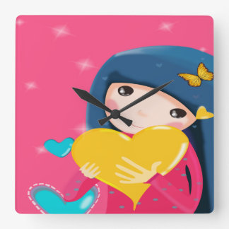 Girl Holding a Yellow Heart, Daughter Birthday Wall Clock