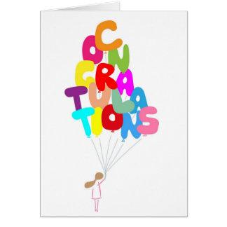 Girl Holding Congratulations Balloons Card