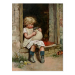 Girl Holding Cute Puppy Vintage Postcard