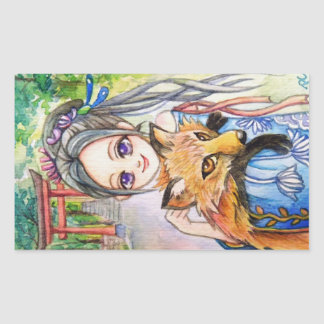 Girl Holding Fox Rectangular Sticker