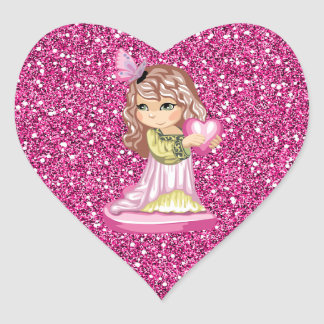 Girl Holding Heart Pink Faux Glitter Heart Sticker
