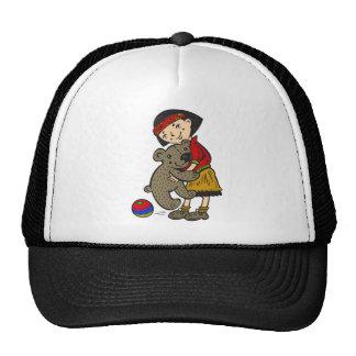 Girl Holding Teddy Bear Mesh Hat