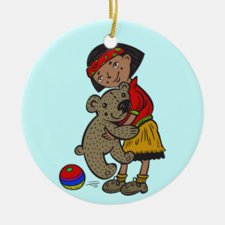 Girl Holding Teddy Bear Round Ceramic Decoration