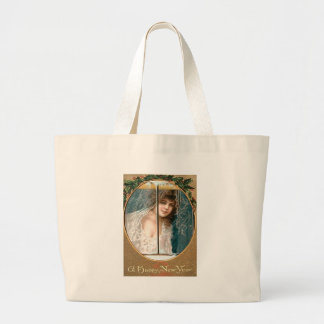 Girl Holly Window New Year Jumbo Tote Bag