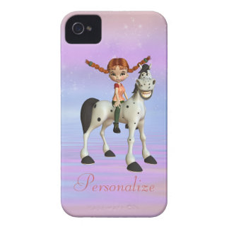 Girl & Horse Personalized BlackBerry Bold iPhone 4 Case-Mate Cases