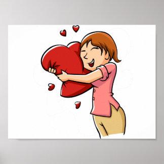 Girl hugging heart poster