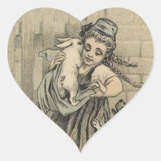 Girl hugging rabbit heart sticker