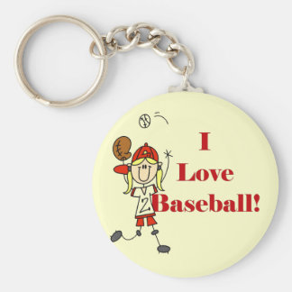 Girl I Love Baseball Tshirts and Gifts Basic Round Button Key Ring