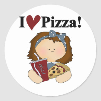 Girl I Love Pizza Tshirts and Gifts Classic Round Sticker