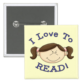 Girl I Love to Read Tshirts and Gifts 15 Cm Square Badge