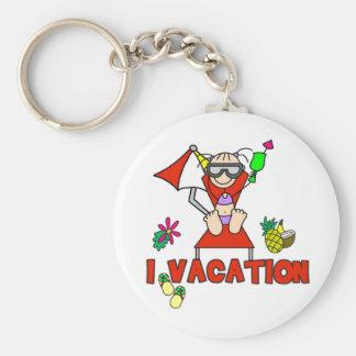 Girl I Vacation Basic Round Button Key Ring