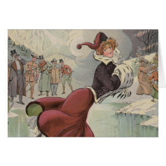 Girl Ice Skating in the Park Greeting Card