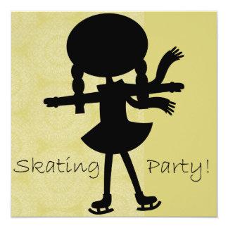 Girl Ice Skating Party Birthday Invitation
