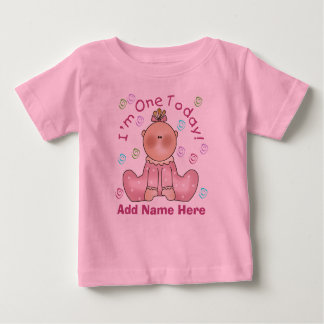GIrl I'm One Today Personalized Birthday Tshirt
