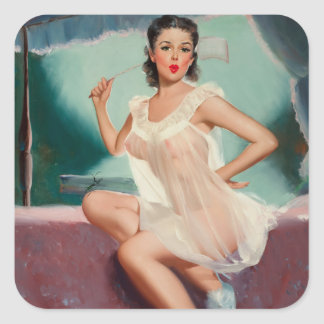 Girl in a Negligee Pin Up Art Square Sticker