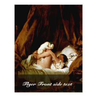 Girl In Bed With A Dog Playing By Fragonard, Jean- Full Color Flyer
