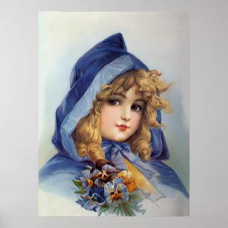 Girl in Blue Hood Poster