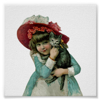 Girl in Bonnet with Christmas Kitten Poster