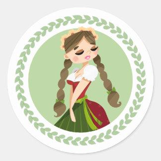 Girl in Dirndl Classic Round Sticker