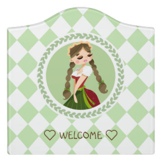 Girl in Dirndl Door Sign