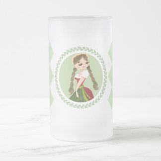 Girl in Dirndl Frosted Glass Beer Mug