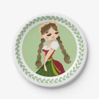 Girl in Dirndl Paper Plate