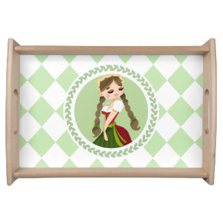 Girl in Dirndl Serving Tray