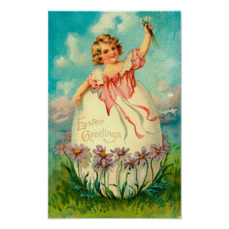 Girl In Egg Vintage Easter Poster