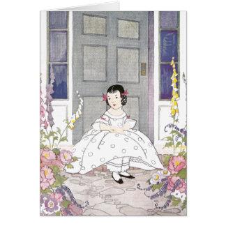 Girl in Foxglove Garden Card