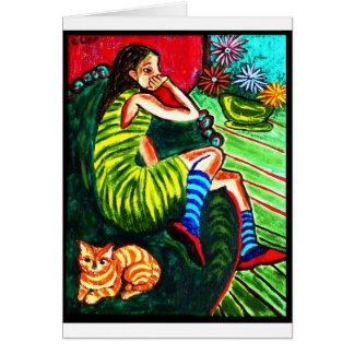 Girl in Green Striped Dress Card