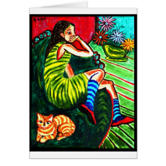 Girl in Green Striped Dress Greeting Card